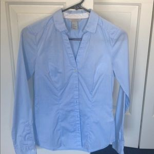 H&M dressy blue button down shirt